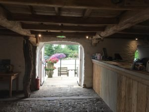 Reception is within the ancient grade II listed barn at Tregarton Park